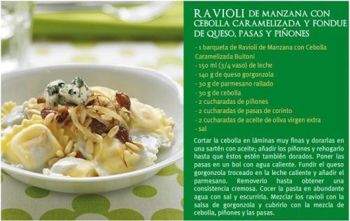 receta de ravilois de cebolla y manzana de buitoni
