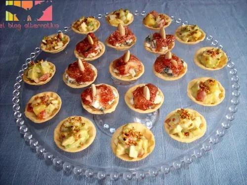 tartaletas1 - Tartaletas vegetarianas de higos y queso unas y tartar de piña y aguacate otras