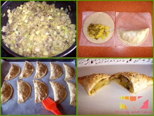empanadillas collage - Empanadillas de calabacín al curry