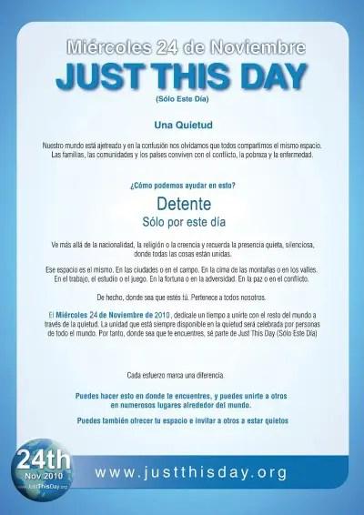 just this day2 - JUST THIS DAY: detente solo por este día y ofrece un minuto de silencio al mundo