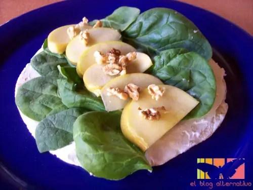 rollo2 - Tortitas Popeye con espinacas, queso, nueces y manzana
