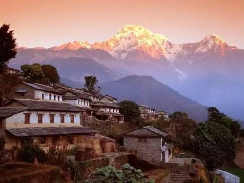 Ghandrung Village and Annapurna South Nepal Himalaya - Ghandrung Village and Annapurna South, Nepal, Himalaya