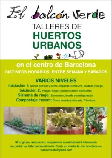 El Balcón Verde Talleres Huerto Urbano - El Balcón Verde organiza Talleres de Huertos Urbanos en Barcelona