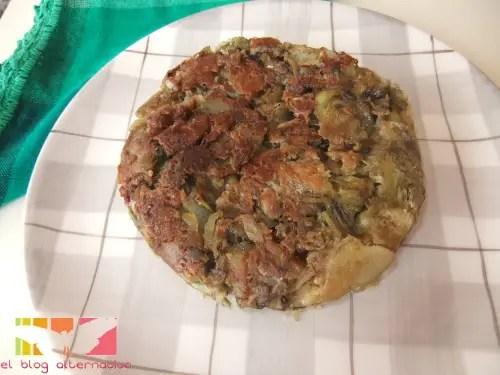 tortilla de alcachofas sin huevo