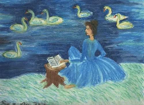lectora en el lago de los cisnes