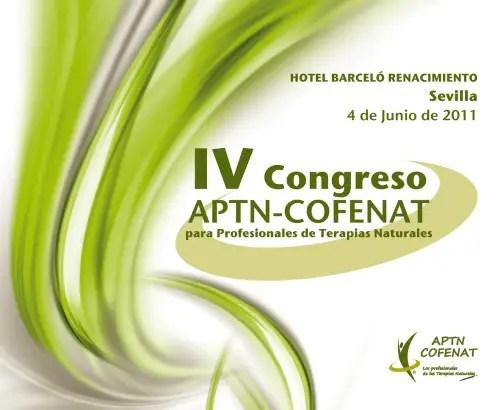 Cartel IV Congreso APTN COFENATb - IV Congreso para Profesionales de Terapias Naturales en Sevilla
