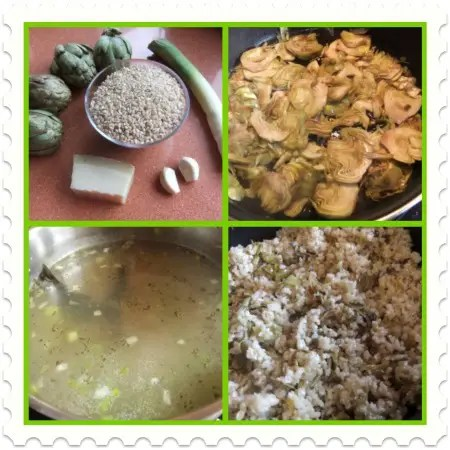 Collage de Picnik2 - Rissotto de arroz integral con alcachofas