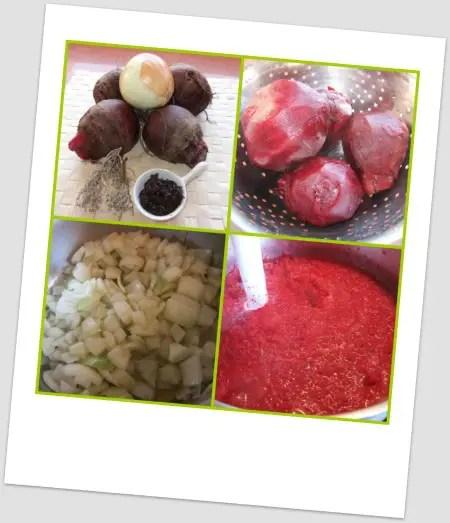 Collage de Picnik - Receta de crema de remolacha al tomillo con miso