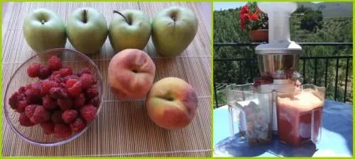 zumo de frambuesas, manzanas y melocotones