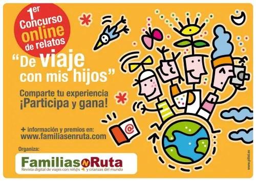 """Flyer sin logos I concurso FamiliasenRuta de relatos De viaje con mis hijos - """"De viaje con mis hijos"""": concurso online de relatos"""