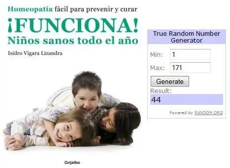 Ganadores sorteo Funciona - GANADORES del SORTEO de 10 ejemplares del libro ¡FUNCIONA! Niños sanos todo el año