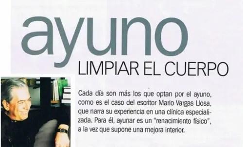 ayuno - AYUNO: limpiar el cuerpo. La experiencia del escritor Vargas LLosa