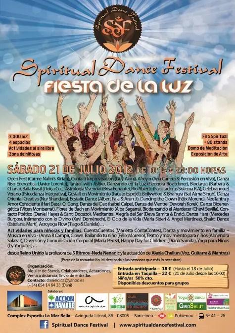 Cartel SDF Fiesta de la Luz1 - Fiesta de la luz. Spiritual Dance Festival: Barcelona, 21 de julio 2012