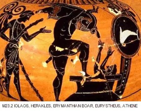 HeraclesJabaliErimanto - La captura del jabalí de Erimanto: 7º trabajo de Hércules