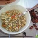 lentejas con cherrys secos - Receta de lentejas con arroz integral, verduritas y cherrys secos