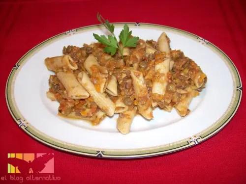pasta - pasta boloñesa de lentejas