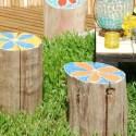 troncos jardin - Troncos pintados para el jardín
