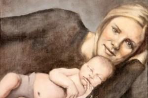 Andra Hancock Illustration Utah Mother Baby reclining Painting 051 - Cada día que paso con mi hija es un día de éxito