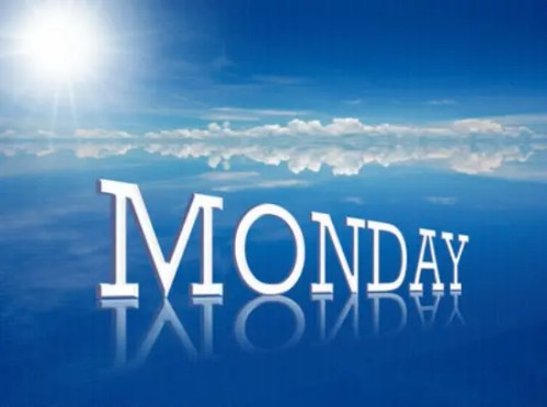 """lunes - word """"monday"""" on attractive persspective line and nature background."""