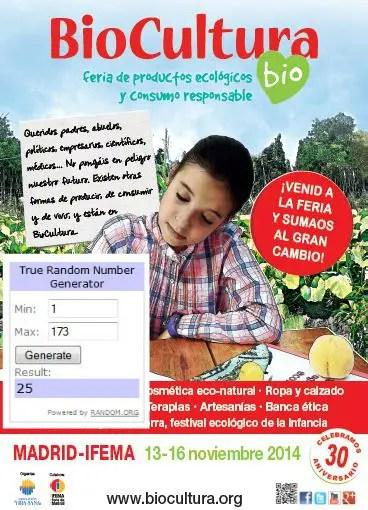 Ganadores BIO Mad 2014 - GANADORES Sorteo de 20 entradas dobles para Biocultura Madrid 2014
