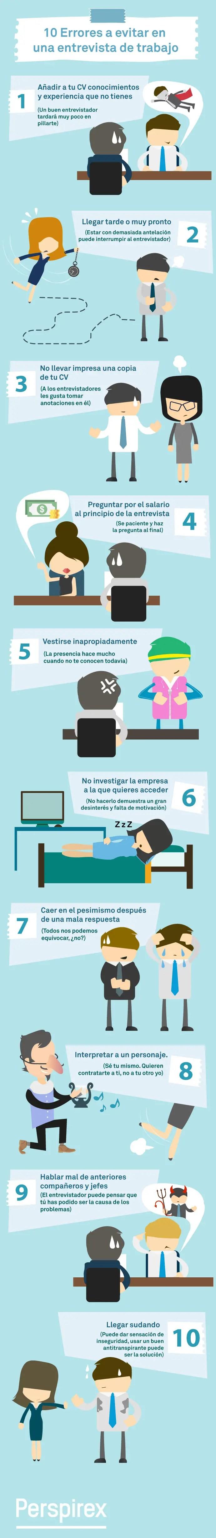 10 errores en entrevistas de trabajo