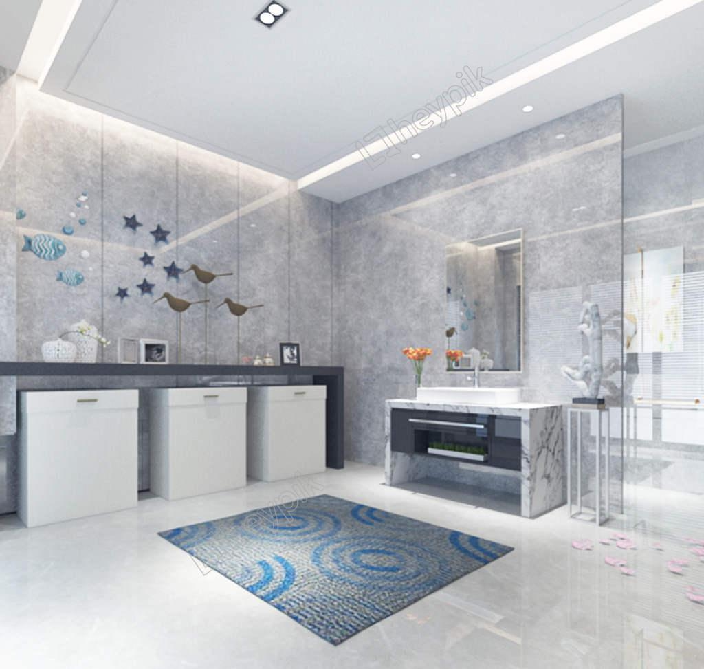 decoración en blanco, gris y azul