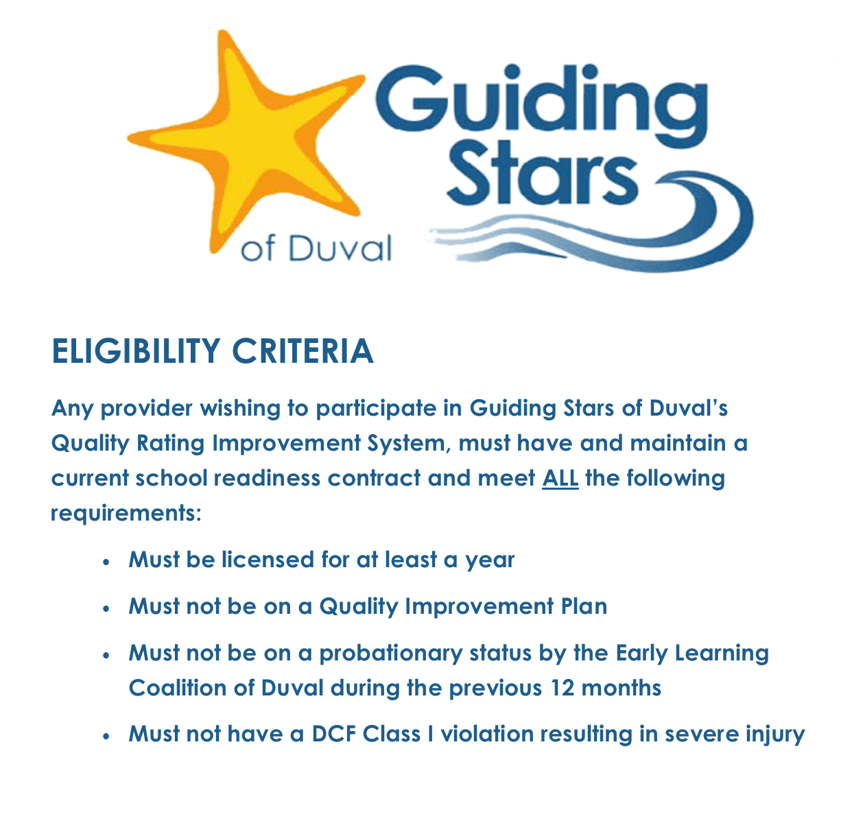 Guiding Stars Of Duval Provider Information
