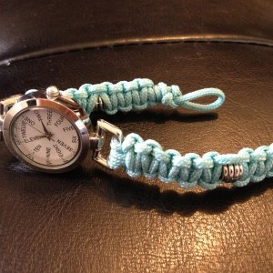 Paracord watchstrap with silver coloured watch