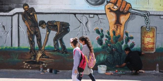 غزة.. جدارية وفاء لأسرى جلبوع الستة