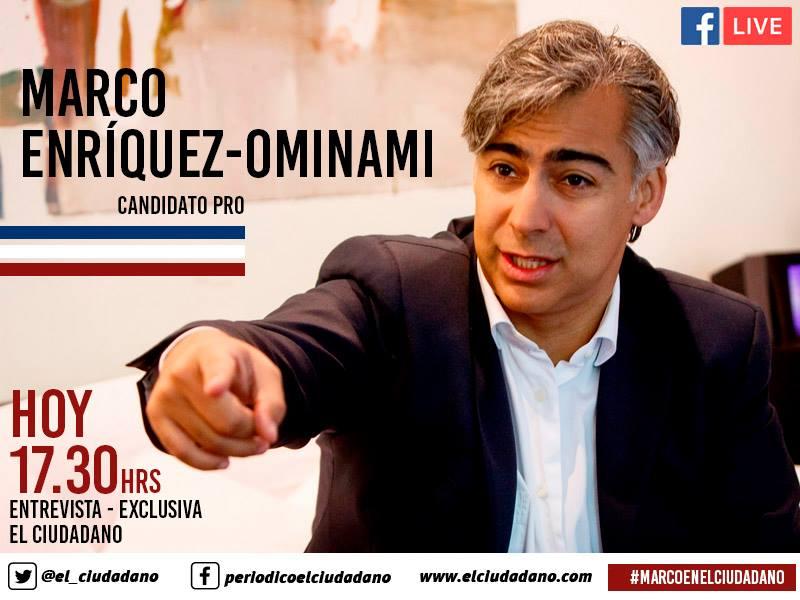 Ciclo de entrevistas presidenciales en El Ciudadano continúa este jueves con Marco Enríquez-Ominami