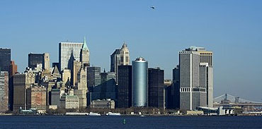 View of New York City from the Statue of Liberty