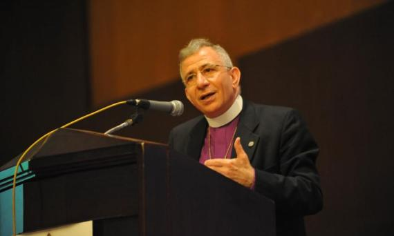 LWF President Bishop Dr Munib Younan delivers his address at the 2014 Council meeting. Photo- M. Renaux