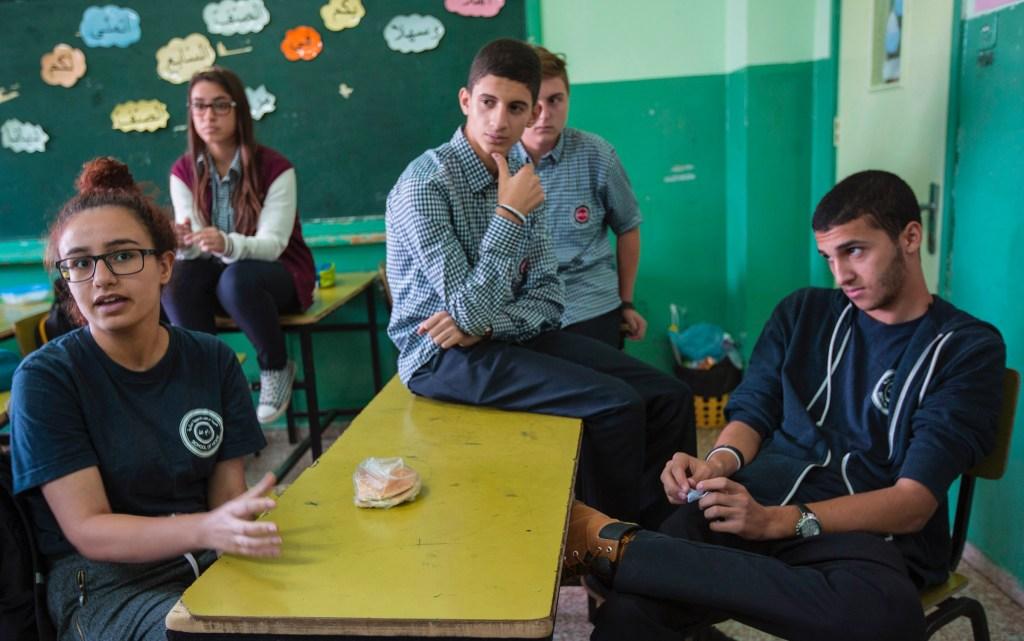 Left to Right: Reem, Tamara, Amro, (behind Amro) Mahmoud, Emad at ELCJHL Ramallah School of Hope. Photo: Ben Gray/ELCJHL