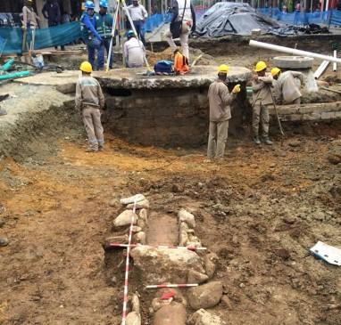 Este es un fragmento de las acequias del antiguo acueducto encontrado en Envigado. FOTO CORTESÍA METROPLÚS