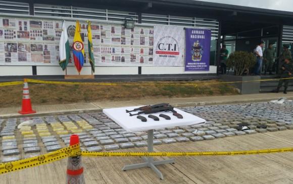 En la operación adelantada por la Fuerza de Trabajo Conjunta Titán, en Necoclí cayeron, 1.173 kilos de cocaína. FOTO cortesía