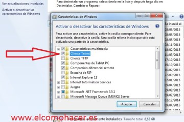 Activar telnet windows 7
