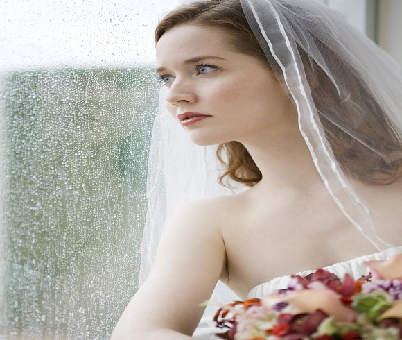 sad bride on wedding day
