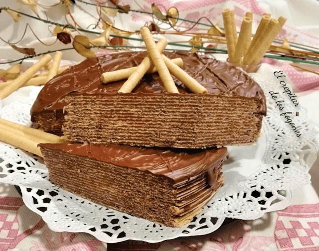 tarta de chocolate con obleas