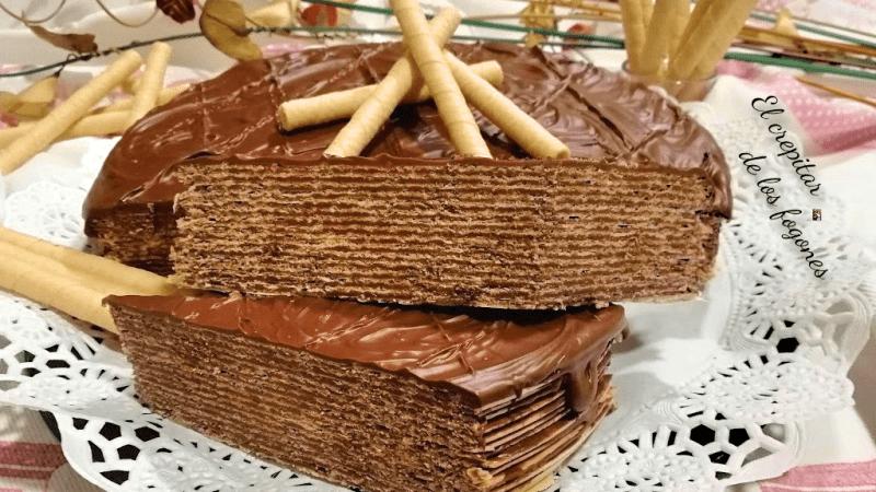 TARTA DE CHOCOLATE CON OBLEAS DE PAN DE ÁNGEL