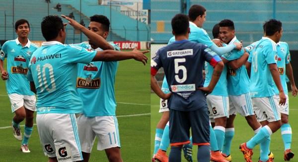 Las celebraciones de los goles de Oliva e Ysique (Prensa Sporting Cristal)