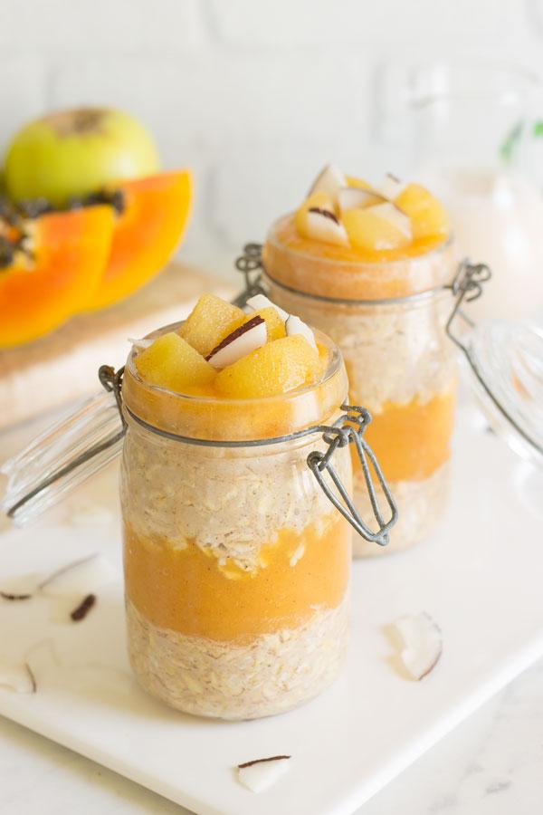 Overnight oats con manzana y papaya