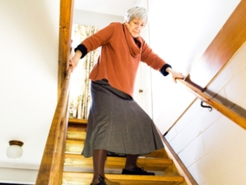 Stair Safety Tips For Seniors Elder Options Of Texas   Stair Rails For Elderly   Stair Climbing   Down Stairs   Wood   Cmmc Handrail   Pipe