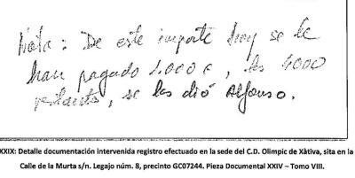 Anotación manuscrita intervenida por la Guardia Civil en el registro del Olimpic de Xàtiva.