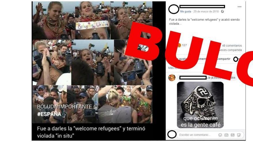 """No, esta mujer a la que atacaron no llevaba un cartel de """"welcome refugees"""" ni estaba recibiendo a refugiados."""