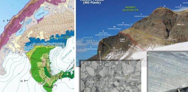Detalle del mapa geológico y panorámica de algunas de sus formaciones