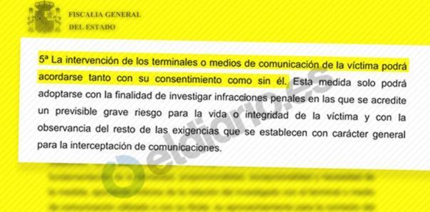 Extracto del borrador de circular de la Fiscalía sobre interceptación de comunicaciones