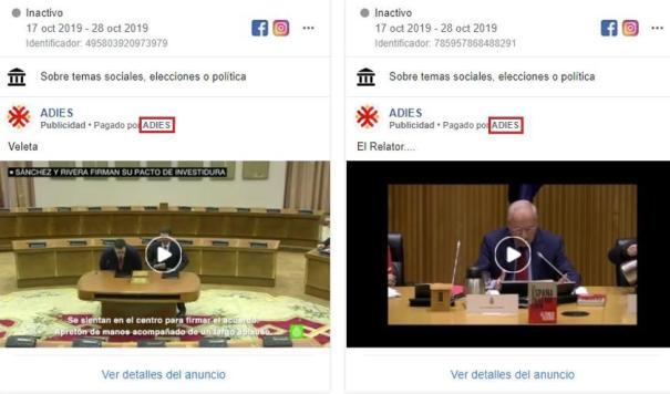 """Dos anuncios pagados en Facebook por la 'Asociación para la defensa de los intereses de España'. Javier Barrallo desaparece del campo de pagador y aparece """"Adies""""."""