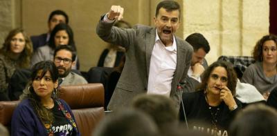 Antonio Maíllo, líder de IU en Andalucía y diputado de Adelante, durante la sesión constitutiva del Parlamento andaluz