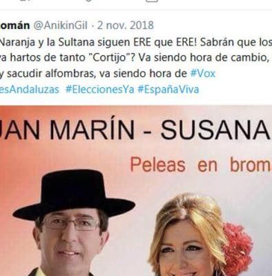 "Juan Marín, ""el Veleta Naranja"", según la diputada de Vox Ana Gil."