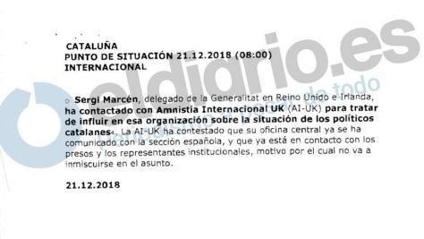 Nota informativa sobre el resultado de las gestiones ordenadas al delegado de la Generalitat en Londres